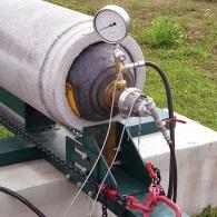 Druckversuche an einem Stahlbetonrohr