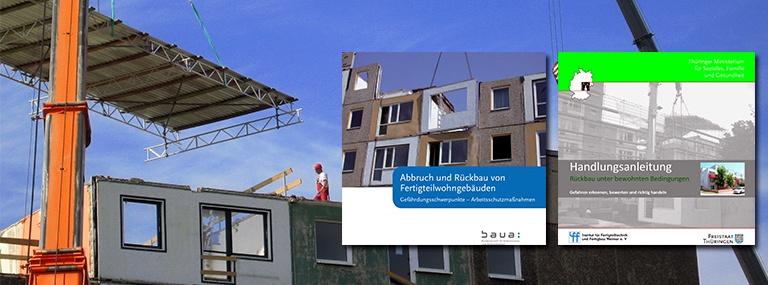 Bild Rückbau-Baustelle und Broschüren Handlungsanleitung