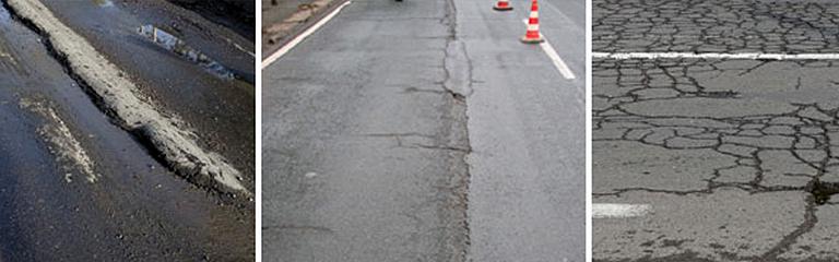 Bild Long-Life-Deckschichten: Schädigungen von Asphaltstraßen