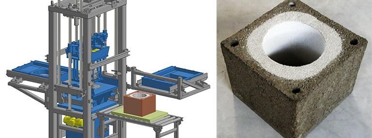 Bild CAD-Modell Duplex-Steinfertiger mit vertikalem Funktionsprinzind Duplexstein