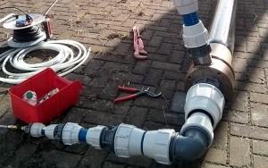 Bild Koaxiale Schlauchsonde: für den Einbau vorbereitete Schlauchsonde während einer Druckprobe