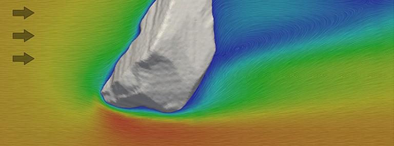 Bild Strömungssimulation: Simulation der Umströmung eines unregelmässig geformten Partikels
