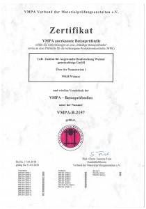 Bild PDF Zertifikat VMPA-B-2157 IAB Weimar