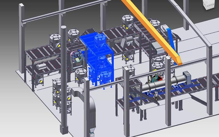 4-Deck-Taumelsiebanlage zur Produkt- und Feinsiebung