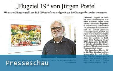 """Bild Presseschau Presseschau: """"Flugziel 19"""" von Jürgen Postel am IAB Weimar"""