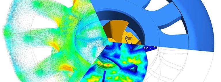 Bild Beispiel Strömumgssimulation von Flüssigkeiten und Gasen