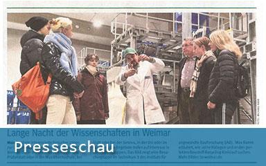 Bild Preeseartikel Lange Nacht der Wissenschaften in Weimar 2019