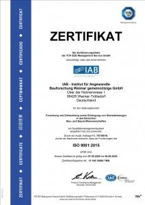 Bild TÜV ISO 9001 Zertifikat IAB Weimar gGmbH