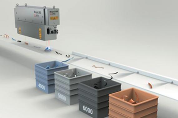 Bild Laserbasierte Sortiermaschine für Restbaustoffe auf dem Laufband